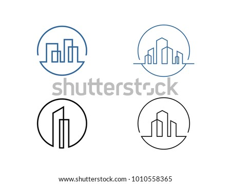 Set of modern line art City logo template