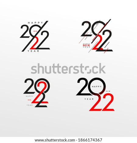 Set of modern logo 2022 facet logo text design. Happy New Year label and happy holidays template card. Cover of business diary for 2022 with wishes. Brochure red design, Xmas banner. Vector Christmas.
