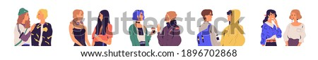 Set of modern male and female characters chatting or talking. Collection of young men and women meeting and communicating. Dialogs between people. Flat vector illustration isolated on white background