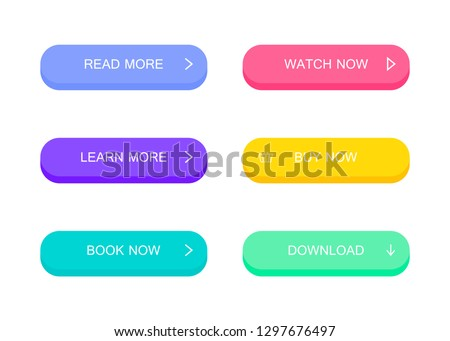 Set of modern material style buttons. Different colors. Modern vector illustration flat style. #1297676497