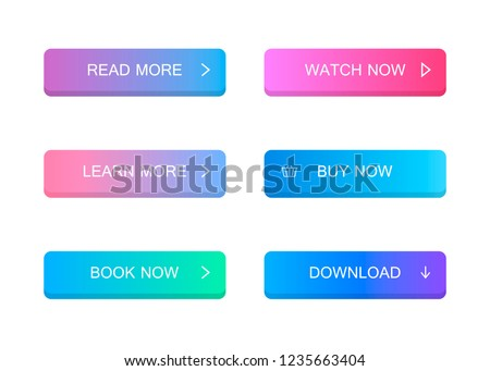 Set of modern material style buttons. Different gradient colors. Modern vector illustration flat style. #1235663404