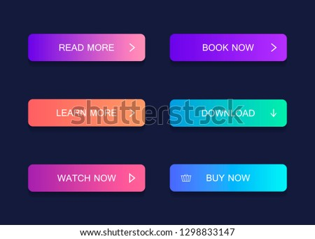 Set of modern material style buttons. Different gradient colors. Modern vector illustration flat style. #1298833147