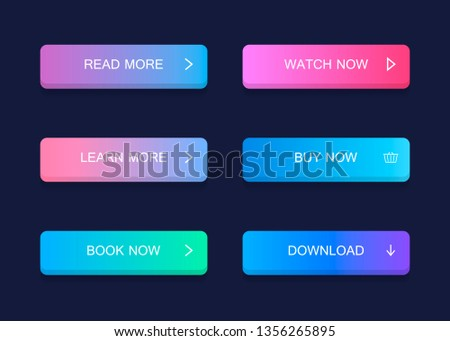 Set of modern material style buttons. Different gradient colors. Modern vector illustration flat style. #1356265895