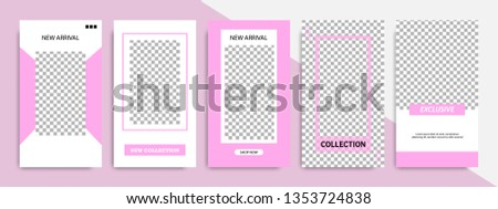 Set of modern minimalist pink purple stripe line in frame template at white background. Suitable for social media stories, story, roll banner, expandable banner, flyer and brochure. #1353724838
