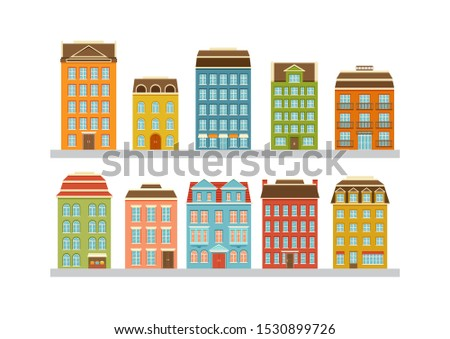 Set of modern multi-storey buildings. Residential houses of the city. Home facade with doors, windows and balcony. Vector illustration. Сток-фото ©