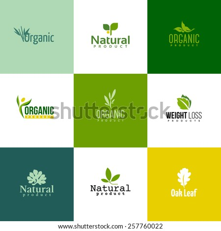 Set of modern natural and organic products logo templates and icons
