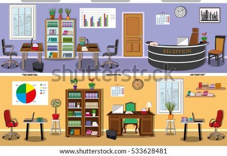 set of modern office interior
