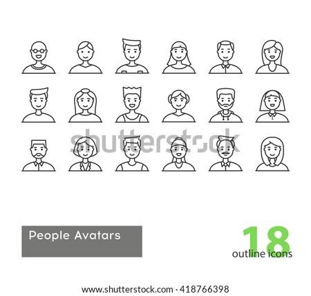 Set of modern outline People Avatars. Stock vector.