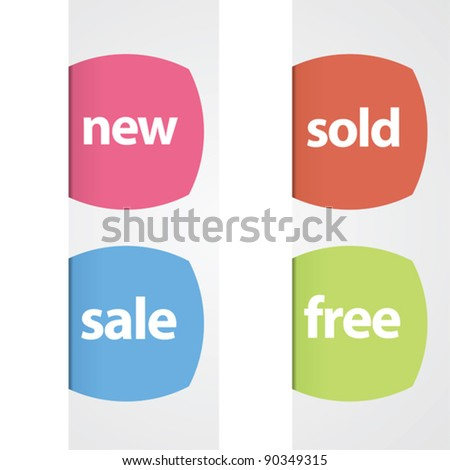 Set of modern retail tags for web or print.