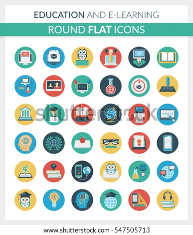 Set of modern round flat icons of education, online training and courses, university and distance education, staff training, digital library, basic and elementary study, e-learning, video tutorials.