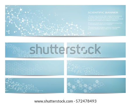 Set of modern scientific banners. Molecule structure of DNA and neurons. Abstract background. Medicine, science, technology, business and website templates. Scalable vector graphics.