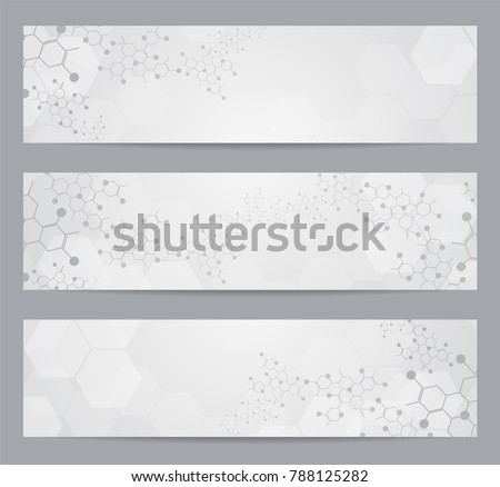 Set of modern scientific banners. Molecule structure of DNA and neurons. Abstract background.