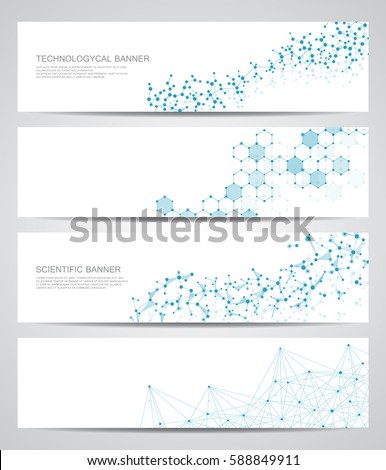 Set of modern scientific banners. Molecule structure of DNA and neurons. Geometric abstract background. Medicine, science, technology, business and website templates. Scalable vector graphics.