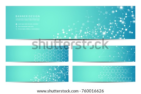 Set of modern scientific banners. Molecule structure of DNA and neurons. Geometric abstract background. Medicine, science, technology, business and website templates. Scalable vector graphics