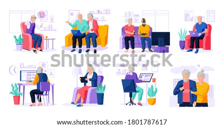 Set of modern senior people with different gadgets. Oldster education on computer. Old progressive people use modern technology. Learning to use PC. Elderly couple with gadgets. Vector illustration.