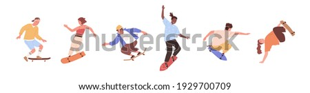 Set of modern skaters jumping with skateboards. Young people skate boarding. Modern street activity. Colored flat vector illustration of active teenagers riding longboards isolated on white background Сток-фото ©