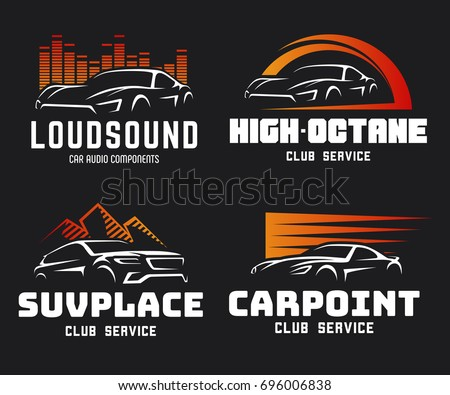 set of modern sports car and