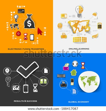 Set of modern stickers Concept of electronic funds transfers online learning results & success global economy Vector eps10 illustration