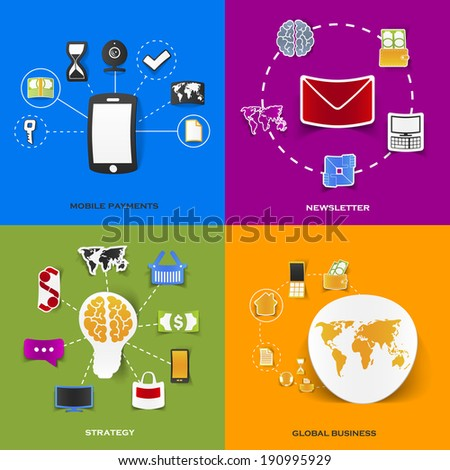 Set of modern stickers. Concept of mobile payments, newsletter, strategy, global business. Vector eps10 illustration