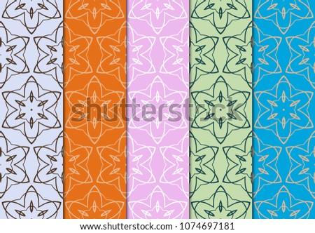 set of modern stylish geometry seamless pattern art deco background. Luxury texture for wallpaper, invitation. Vector ornament design illustration. #1074697181
