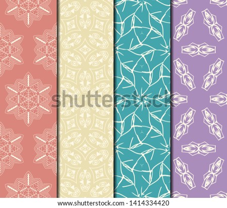 Set of Modern Stylish Geometry Seamless Pattern Art Deco Background. Luxury Texture For Wallpaper, Invitation. Vector Illustration.  #1414334420