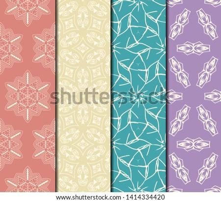 Set of Modern Stylish Geometry Seamless Pattern Art Deco Background. Luxury Texture For Wallpaper, Invitation. Vector Illustration.  #1414334420