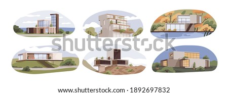 Set of modern suburban houses with terraces and panoramic windows. Exteriors of villas, maisons and cottages of contemporary architecture style. Flat vector illustration isolated on white background Photo stock ©