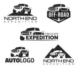 Set of modern suv pickup emblems, icons and logos. Offroad  pickup truck design elements, 4x4 vehicle illustration. Suv car logo template.