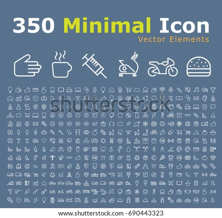 Set of 350 Modern Thin Line Colored Icons (Multimedia, Business, Ecology, Education, Family, Medical, Fitness, Shopping, Construction, Travel, Hotel )  #690443323