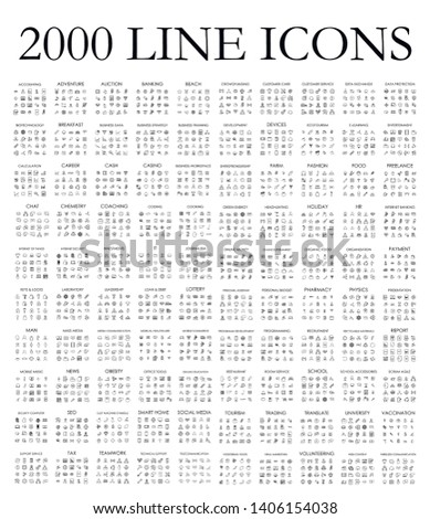 Set of 2000 modern thin line icons. Outline isolated signs for mobile and web. High quality pictograms. Linear icons set of business, medical, UI and UX, media, money, travel, etc.