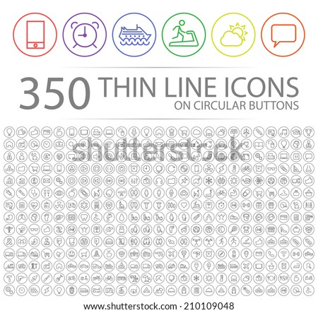Set of 350 Modern Thin Stroke Colored Icons on Circular Buttons (Multimedia, Business, Ecology, Education, Family, Medical, Fitness, Shopping, Construction, Travel, Hotel )  #210109048