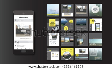 Set of Modern trendy magazine covers. Editable simple corporate posts, modern info banner. BLACK DARK VERSION. Slides for app, web design corporate style for social media pack. Square handpicked posts #1316469128