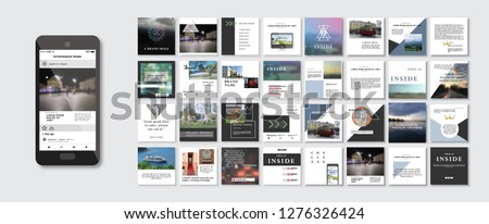 Set of Modern trendy magazine covers. Editable simple corporate posts, modern info banner, Easy Use ad PR, unique inspirational Promotional mockups for bloggers, designers, shop owners, entrepreneurs  #1276326424