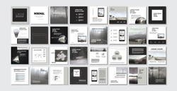Set of Modern trendy magazine covers. Editable simple corporate posts, modern info banner. Slides for app, web design corporate style for social media pack.Square handpicked posts. White Black VERSION