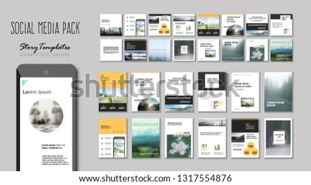 Set of Modern trendy magazine covers. Editable simple corporate posts, modern info banner. White VERSION. Slides for app, web design corporate style for social media pack. Square handpicked posts #1317554876