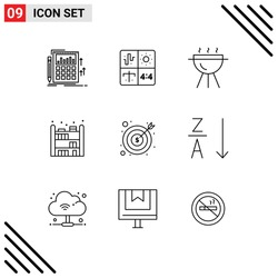 Set of 9 Modern UI Icons Symbols Signs for business; bookshelf; engineering; living; cook Editable Vector Design Elements