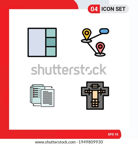 Set of 4 Modern UI Icons Symbols Signs for grid; shareit; location; share; death Editable Vector Design Elements