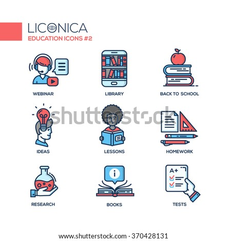 Set of modern vector education thin line flat design icons and pictograms. Collection of infographics objects, web elements. Webinar, library, back to school, ideas, lessons, research, books
