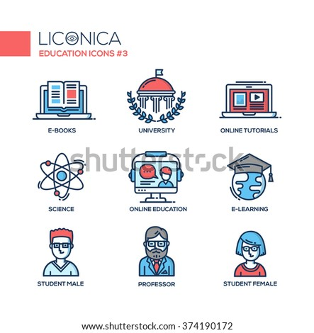 Set of modern vector education thin line flat design icons and pictograms. Collection of infographics objects, web elements. Online tutorials, science, online, e-learning, student