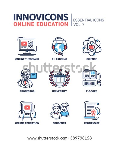 Set of modern vector education thin line flat design icons and pictograms. E-books, university, online tutorials, science, online education, e-learning, student male, female, professor