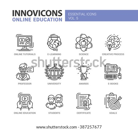 Set of modern vector education thin line flat design icons and pictograms, university,  tutorials, science, online education, e-learning, students, professor, awards, goals, creative process