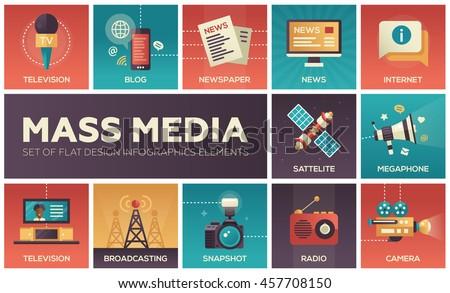 Set of modern vector flat design mass media icons and pictograms. Tv, newspaper, blog, internet, radio satellite, megaphone, broadcasting, camera, snapshot Stock photo ©