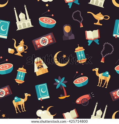 Set of modern vector flat design seamless tileable pattern with icons of islamic holiday, culture. Muslim male, female, camel, cannon, mosque, prayer beads, prayer book, lamp, drum