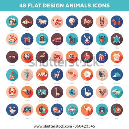 Set of modern vector flat design wild and domestic animals icons