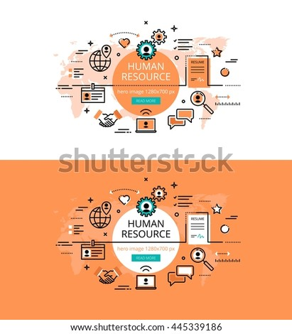 Set of modern vector illustration concepts of HR and recruiting. Line flat design hero banners for websites and apps with call to action button, ready to use