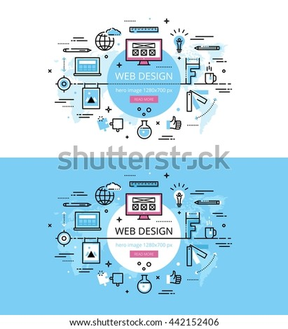 Set of modern vector illustration concepts of web sites production. Line flat design hero banners for websites and apps with call to action button, ready to use