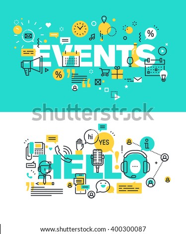 Set of modern vector illustration concepts of words events and hello. Thin line flat design banners for website and mobile website, easy to use and highly customizable.