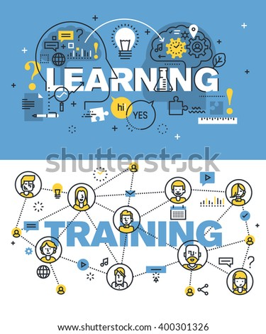 Set of modern vector illustration concepts of words learning and training. Thin line flat design banners for website and mobile website, easy to use and highly customizable.