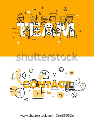 Set of modern vector illustration concepts of words team and contact. Thin line flat design banners for website and mobile website, easy to use and highly customizable.