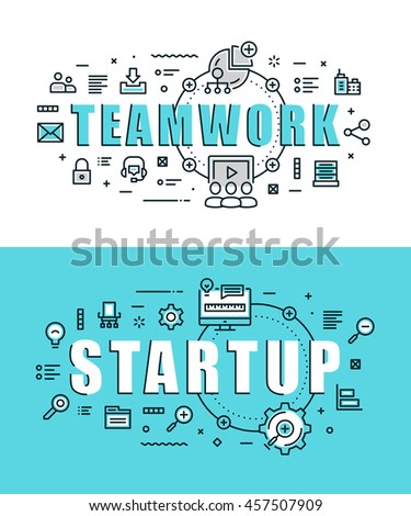 Set of modern vector illustration concepts of words teamwork and start up. Thin line flat design banners for website, mobile website and presentation.